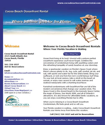 Cocoa Beach Oceanfront Rental Website - by design42 New Media Web Design. Call (828) 692-7270. Find out what we can do for your business!