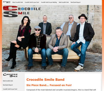 Crocodile Smile Party Band  Website - design42 New Media Web Design (828) 692-7270