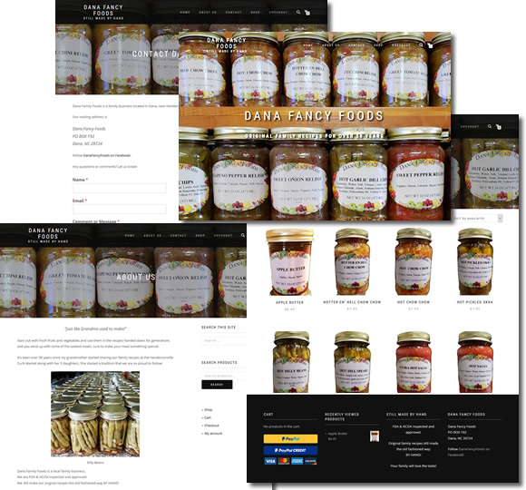 Dana Fancy Foods Website - design42 New Media Web Design (828) 692-7270