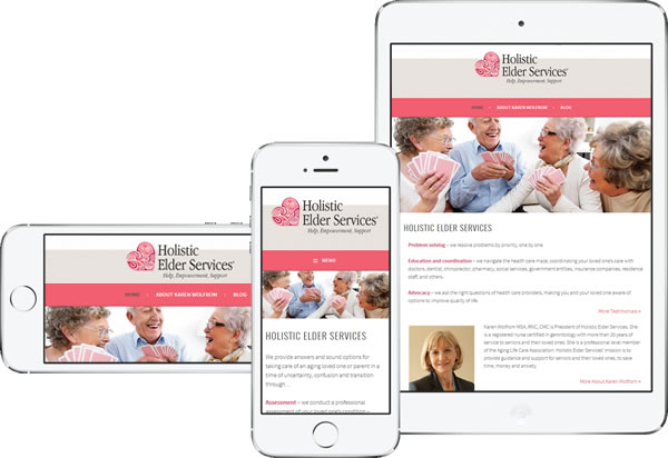 Holistic Elder Services Geriatric Care Management Responsive WordPress Website - design42 New Media Web Design (828) 692-7270