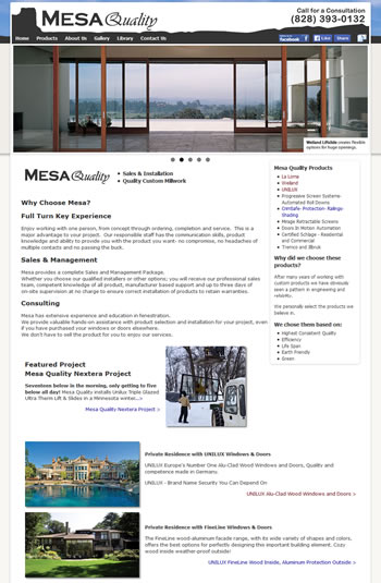 Mesa High End Windows and Doors Website - design42 New Media Web Design (828) 692-7270