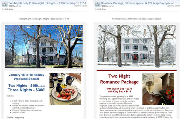 1898 Waverly Inn Constant Contact Newsletter Templates - design42 New Media Web Design (828) 692-7270