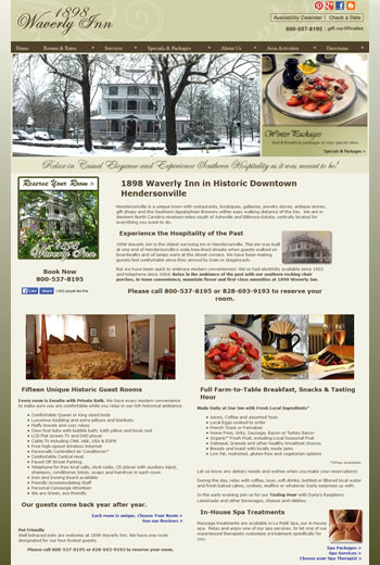 1898 Waverly Inn Website - design42 New Media Web Design (828) 692-7270