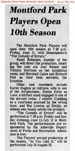 Montford Park Players 1982 The Comedy of Errors Donna Kirby plays Luce, a kitchen maid engaged to one of the servant twins.
