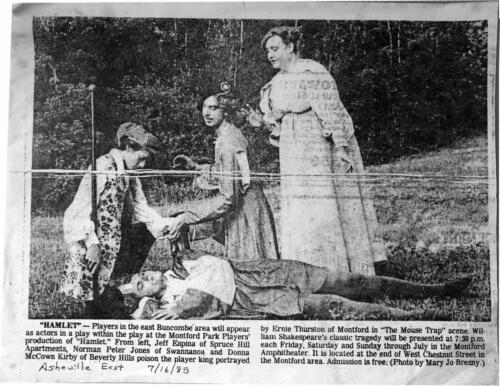 """Montford Park Players Hamlet, 1985  - Donna McCown Kirby of Beverly Hills poisons the player king... in the Play Within the Play """"Mouse Trap"""" scene."""