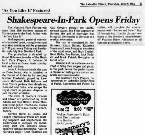 """Montford Park Players 1983 """"As You Like It"""" Donna McCown Kirby plays the country wench Audrey. Kenn is also in the cast as a forest lord."""