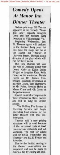 "Manor Inn Theater 1981 ""Never Too Late"" Donna Kirby as Edith"
