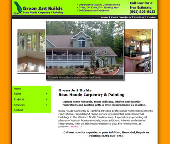 Website for a small construction business - design42 (828) 692-7270