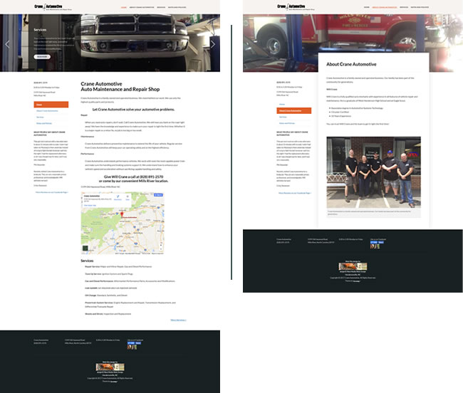Crane Automotive - WordPress site - design42 New Media Web Design (828) 692-7270