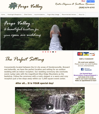 Website for Forge Valley Event Center - design42 New Media Web Design (828) 692-7270
