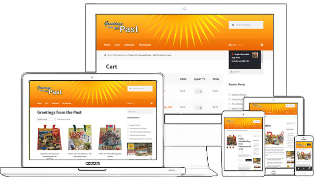 Greetings from the Past is a WordPress blog and ecommerce website. This nanobusiness uses open source web software to create a beautiful website! Currently the site is using Storefront Theme with WooCommerce, the most commonly used free eCommerce plugin. - design42 New Media Web Design (828) 692-7270