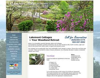 Lakemont Cottages: Cabin and Cottage Rental Website - design42 New Media Web Design (828) 692-7270