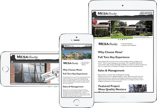 Mesa High End Windows and Doors Responsive Website - design42 New Media Web Design (828) 692-7270