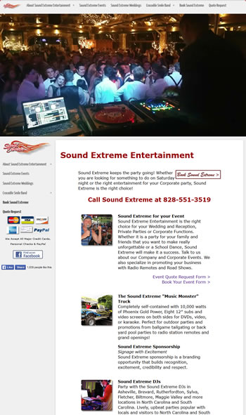 Sound Extreme Entertainment  Website - design42 New Media Web Design (828) 692-7270